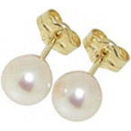 Ear Studs with Pearls, Yellow Gold 750