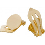 Ear Clips with Plate, Silver 925 Gold plated